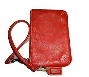 Coach True Genuine Leather Wallet Wrist Strap Wristlet in Red