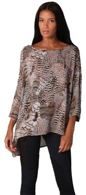 Item - Brown Gray Tan Botany Feather Blouse Size 10 (M)