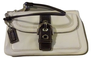Coach Soho Collection Buckle Trim Outside Pocket Iphone 6 Wristlet in White & Brown