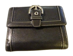Coach COACH Hamptons Soho Buckle Black Leather Bifold Compact Clutch Wallet