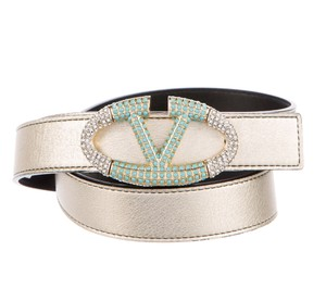 Valentino Metallic gold-tone leather Valentino crystal embellished V belt S