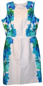 Calvin Klein short dress White, Blue, & Turquoise Classic Sheath Floral Bright Print on Tradesy