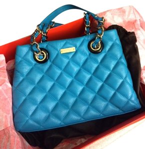 Kate Spade Leater Quilted Satchel in blue