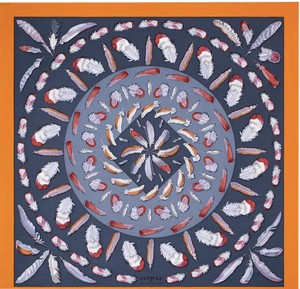 Hermès Plumes II Hermes silk twill scarf, hand-rolled, 36