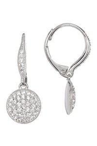 Nadri Lentil Crystal Pave Leverback Earrings
