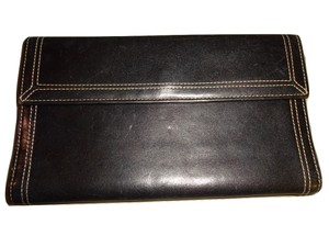 Other TUSK ~ Rare Smooth Black Leather Slim Checkbook Clutch Wallet