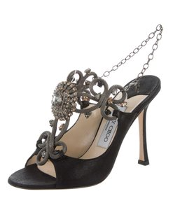 Jimmy Choo Crystal Strappy Metallic Silver Hardware Suede Black, Silver Sandals