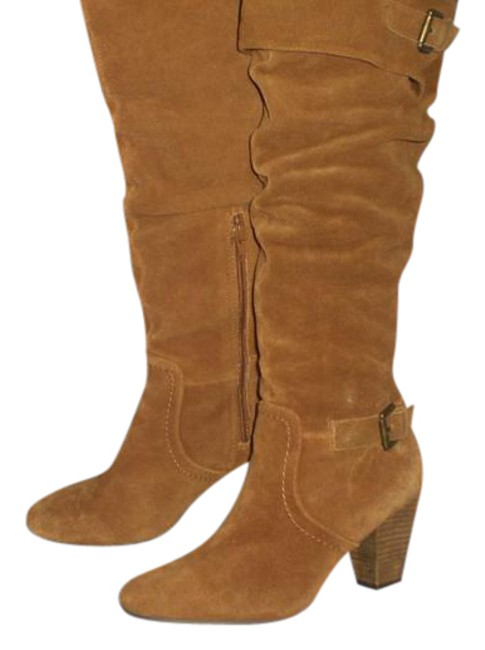 Item - Tan/Cognac -brown-cow-suede-leather-16-034-wild-calf-20-034-knee-high-boots Boots/Booties Size US 8.5 Regular (M, B)