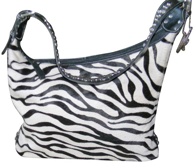 American West Blk/White with Sw/Crystals Blk/White Zebra Leather Shoulder Bag American West Blk/White with Sw/Crystals Blk/White Zebra Leather Shoulder Bag Image 1