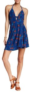 Free People short dress BLUE Asymetrical Tropical Daydream on Tradesy