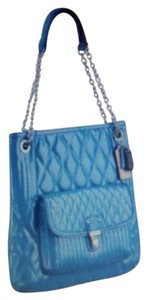 Coach Stylish Rare Quilted Tote in Teal Green
