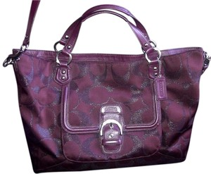Coach Stylish Signature Lurex Satchel in Wine/Bordeaux/Maroon