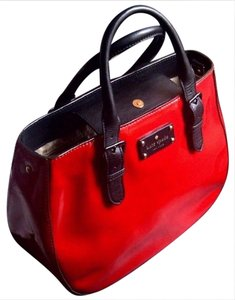 Kate Spade Very Stylish Shiny Patent Leather Satchel in Red/Black