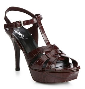 Saint Laurent Leather Platform Peep Toe Ankle Strap Crocodile Burgundy Crocodile Sandals
