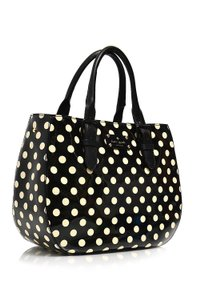 Kate Spade Very Stylish Shiny Patent Leather Polka Dot Satchel in Black