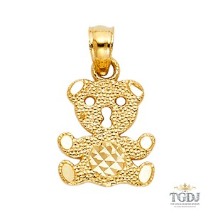 Top Gold & Diamond Jewelry Baby Bear Pendant, 14K Yellow Gold Baby Bear Pendant