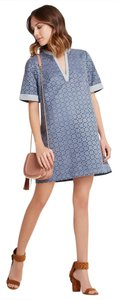 BCBGeneration short dress Denim Blue Shift Laser Cut Punch Out Faux Leather on Tradesy