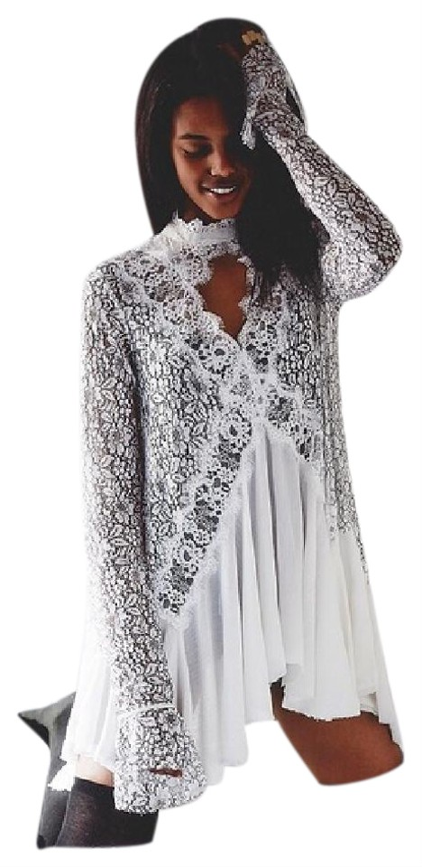 7c6c547ece6 Free People White Tell Tale Secret Lace Tunic Short Night Out Dress ...