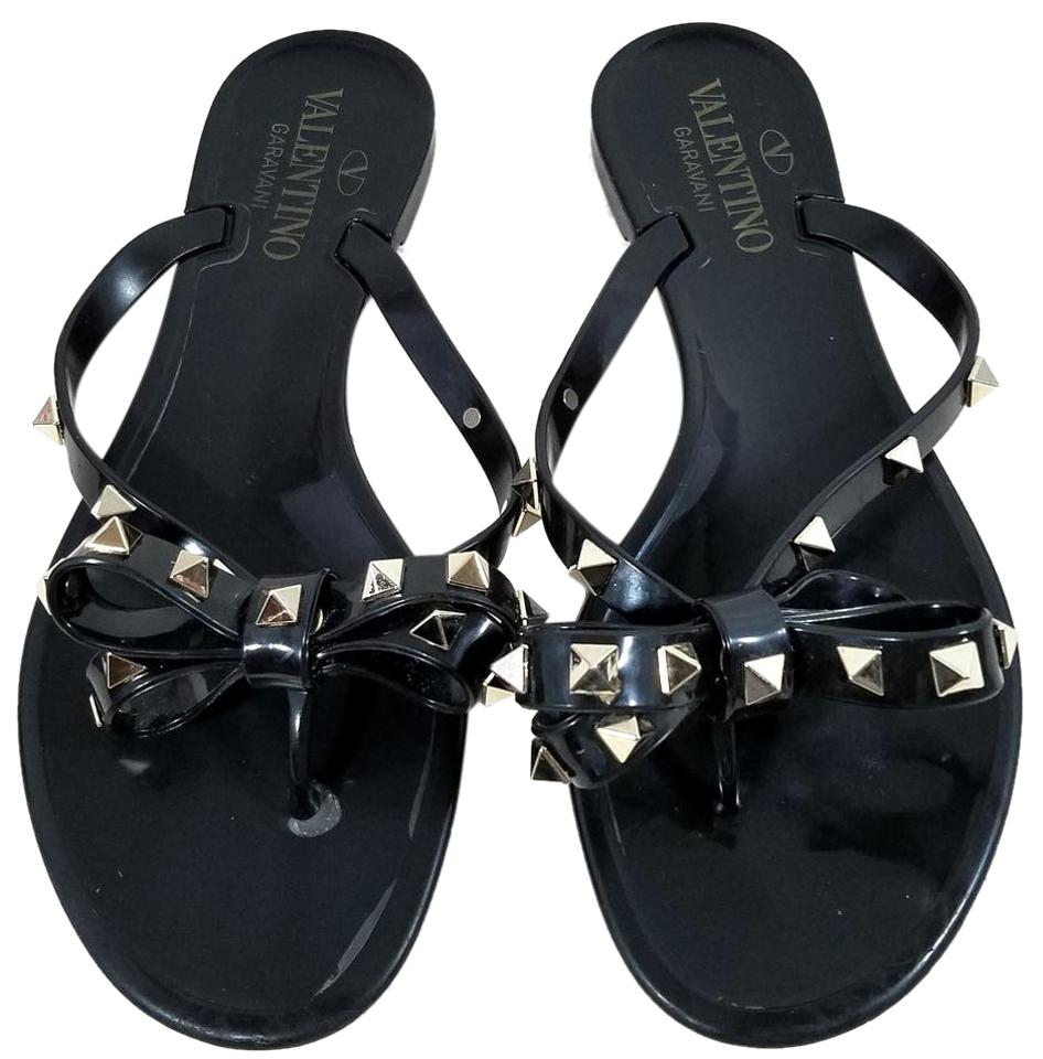 57fc093e5370 Valentino Black Jelly Pvc with Signature Pyramid Rockstuds Sandals. Size  US  5 Regular (M ...