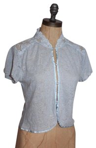 Free People Lace Trim Romantic Stretchy Top BLUE