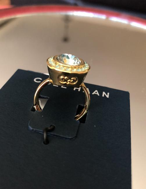 Cole Haan Mint Green Crystals/Gold Tone Logo Ring Cole Haan Mint Green Crystals/Gold Tone Logo Ring Image 2