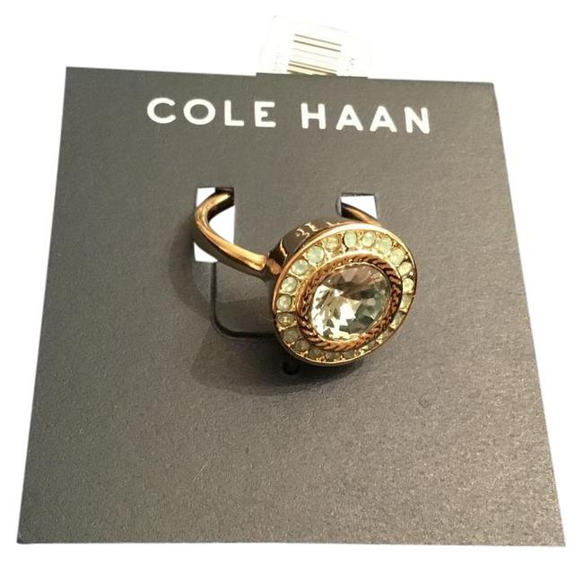Cole Haan Mint Green Crystals/Gold Tone Logo Ring Cole Haan Mint Green Crystals/Gold Tone Logo Ring Image 3