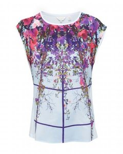 Ted Baker Ellanor Flowered Lattice Print T-shirt Top Multi color