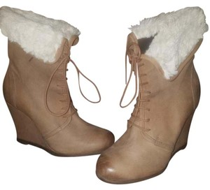 Corso Como Leather Ankle Boot Faux Fur Brown/Tan Wedges