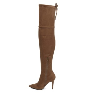 ALDO Over The Knee Pointed Toe Zip Beige Boots
