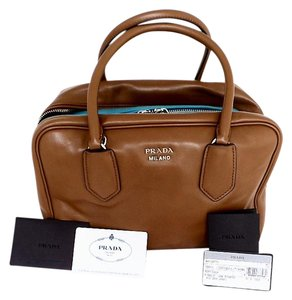 Prada Both Id Cards Care Booklet Dust Covers Satchel in Cannella Turchese