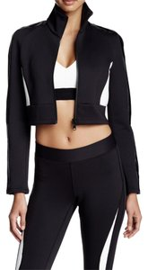 Rebecca Minkoff Long Sleeves Faux Leather Trim Front Zip Cropped Stand-up Collar Black/White Leather Jacket