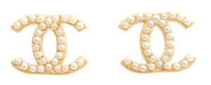 Chanel Mint Condition Chanel Large Gold CC Pierced Earrings with Pearls + Box