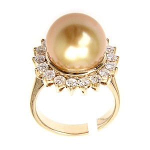 Other 18K Yellow Gold Diamonds Natural Sea Pearl Ring US6.75