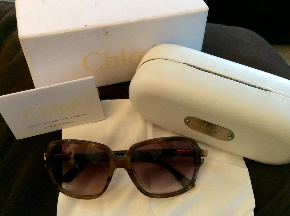 39c042c54213 Chloé Brown and Gold Sale Large Square Framed Tortoise   Case Iob ...