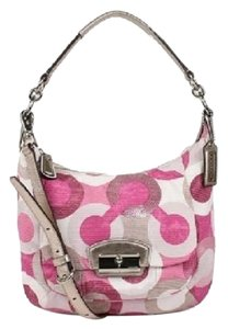 Coach Rare Pink Convertible Sequin Bling Hobo Bag