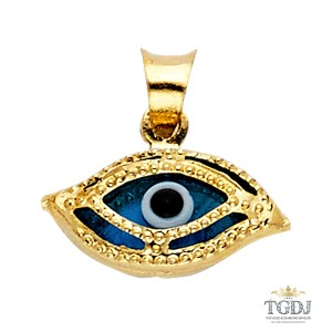 Top Gold & Diamond Jewelry Evil Eye Pendant, 14K Yellow Gold Evil Eye Pendant