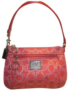 Coach Poppy Red Rare Metallic Wristlet in Red/Silver