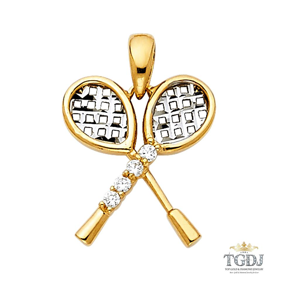 Yellow tennis racket pendant 14k two tone tennis racket pendant top gold diamond jewelry tennis racket pendant 14k two tone tennis racket pendant mozeypictures Gallery