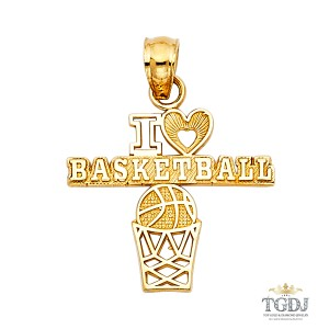 Top Gold & Diamond Jewelry BasketBall Pendant, 14K Yellow Gold Basket Ball Pendant
