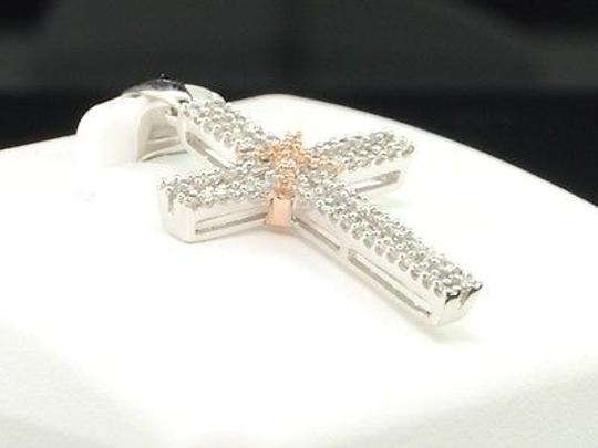 Other Ladies 10k Rose White Gold Diamond Jesus Cross Pendant Charm For Necklace 1.1