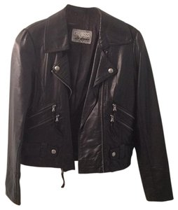 Guess Black with silver hardware Leather Jacket
