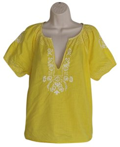 J.Crew Embroidered Ethnic Cotton Boho Peasant Top Yellow