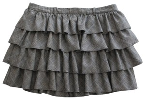 J.Crew Ruffle Mini Plaid Mini Skirt Gray