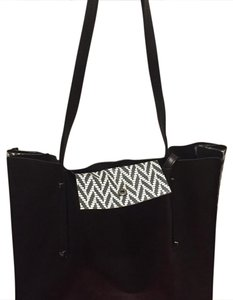 Botkier Tote in black/black-white pattern on sides