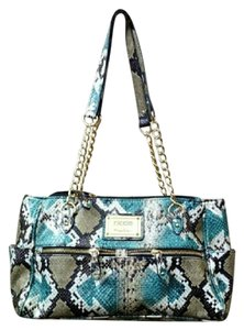 Nicole Miller Very Clean Well Maintained Teal Shades Of Brown White Shoulder Bag