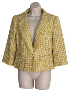 The Limited Cropped Tweed 3/4 Sleeve Yellow Blazer