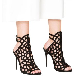 Zara Laser Cut Perforated Night Out Date Night Leather Black Pumps