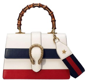 Gucci Dionysus Striped Bamboo Tophandle Satchel in White/Red/Navy