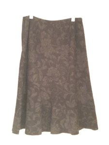 Ann Taylor Skirt Black with faint grey flower print