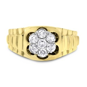 Other 0.50 CT Natural Diamond Men's Watch Style Ring in Solid 14k Yellow